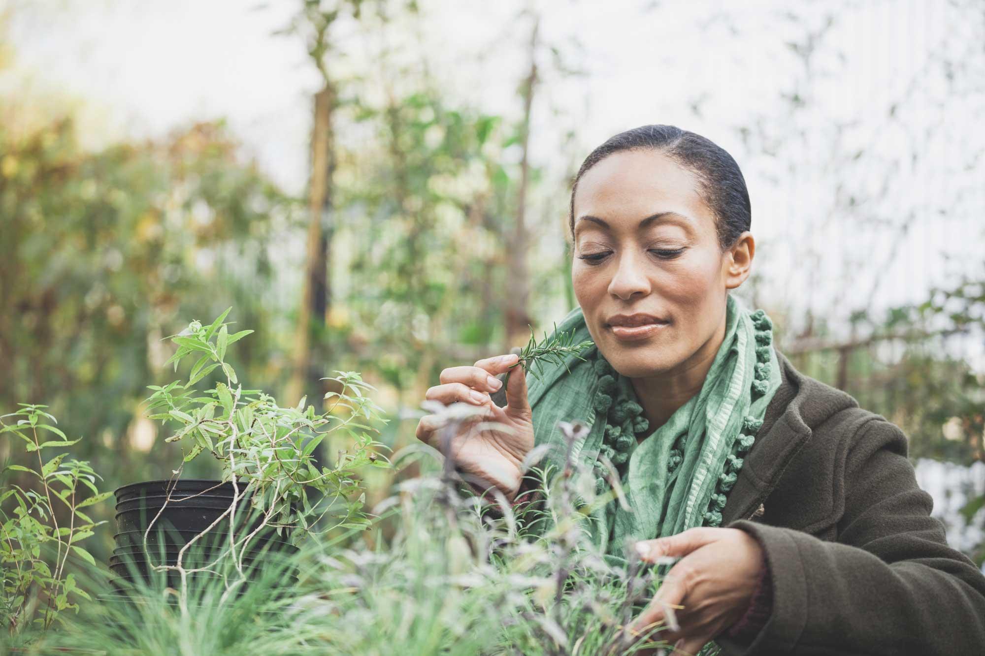 woman working in an urban garden